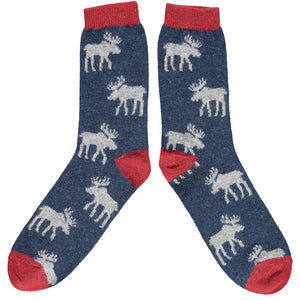 Men's Lambswool Navy and Grey Moose Socks