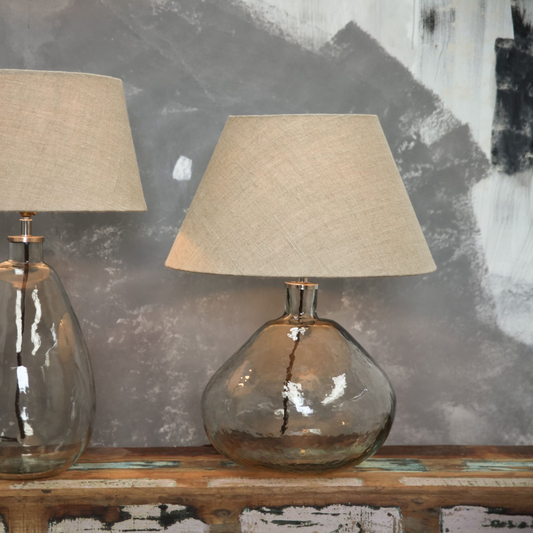 Large Baba Recycled Glass Lamp With Extra Large Stone Jute Shade by Nkuku - A Fly Went By