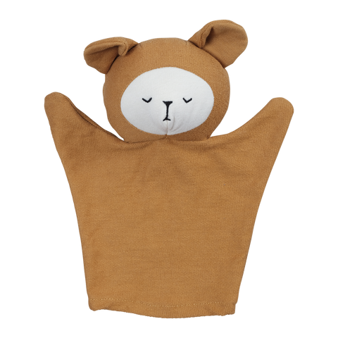 Ochre Organic Cotton Bear Hand Puppet by Fabelab - A Fly Went By