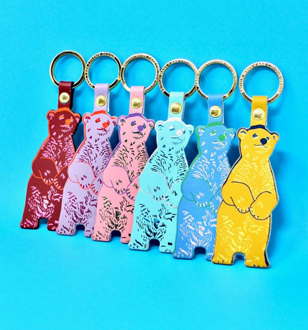 Leather Mustard Bear Keyring