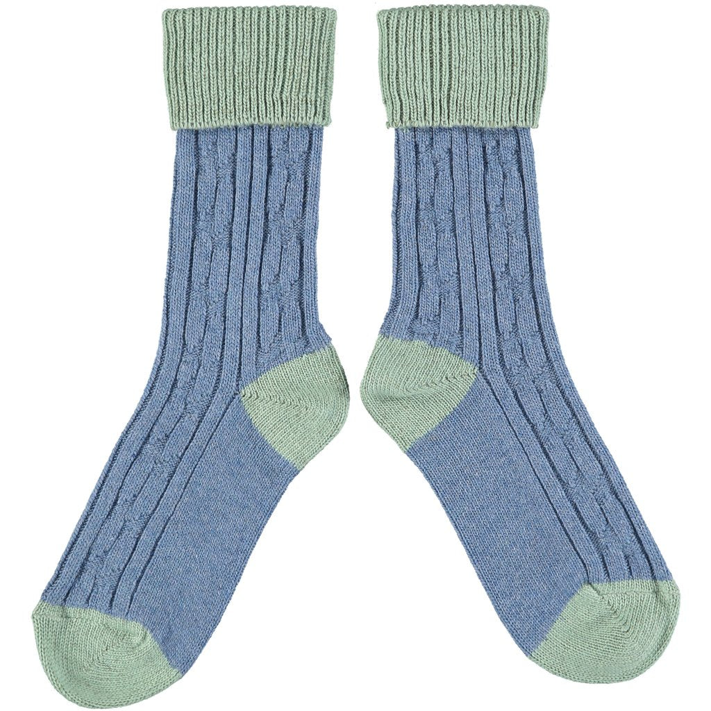 Women's Denim and Green Soft Cashmere Slouch Socks