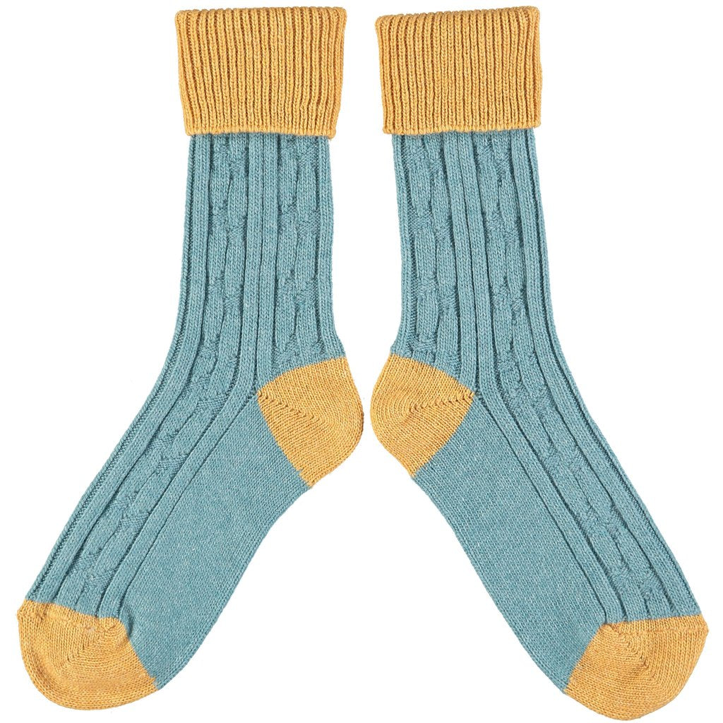 Men's Teal and Mustard Soft Cashmere Slouch Socks by Catherine Tough - A Fly Went By