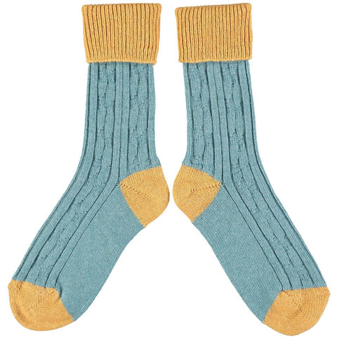 Men's Teal and Mustard Soft Cashmere Slouch Socks