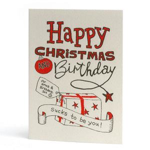 'Happy Christmas and Birthday' Card by Claire Senior - A Fly Went By