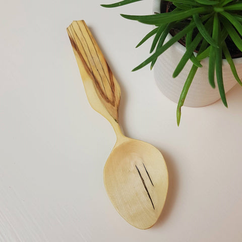 Hand Carved Spalted Maple Eating Spoon
