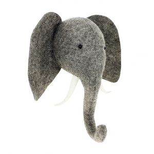 Fiona Walker England Semi Grey Felted Wool Elephant Head Homeware- a-fly-went-by.myshopify.com