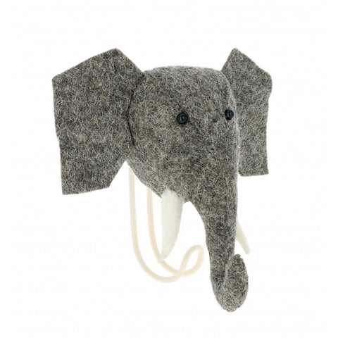 Fiona Walker England Felt Elephant Head Hook Homeware- a-fly-went-by.myshopify.com