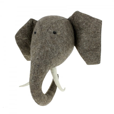 Large Grey Felted Wool Elephant Head by Fiona Walker England - A Fly Went By