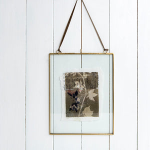 Large Hanging Brass and Glass Photo Frame