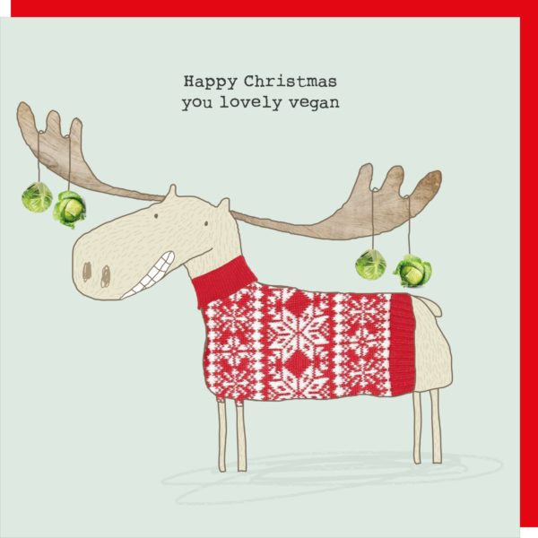 Rosie Made a Thing 'Happy Christmas, you lovely vegan' Christmas Card Stationery- a-fly-went-by.myshopify.com