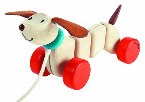 Plan Toys Wooden Pull Along Happy Puppy Toy Children- a-fly-went-by.myshopify.com