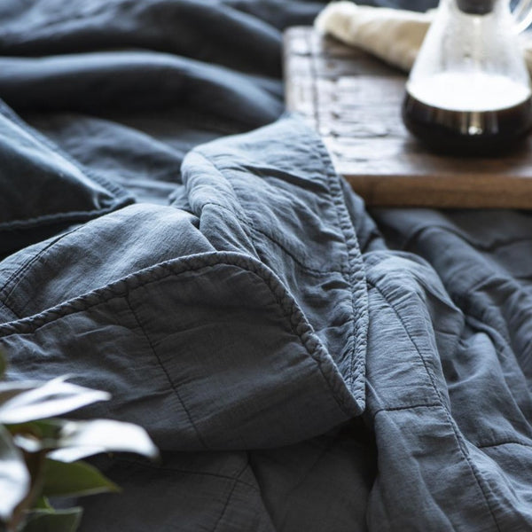 Large Historical Petrol Blue Cotton Quilt