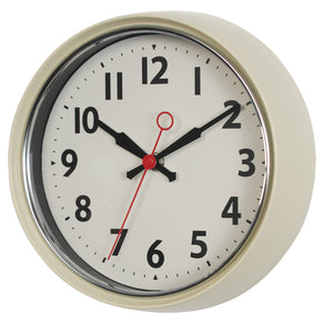 retro style off white wall clock with black hands and numbers