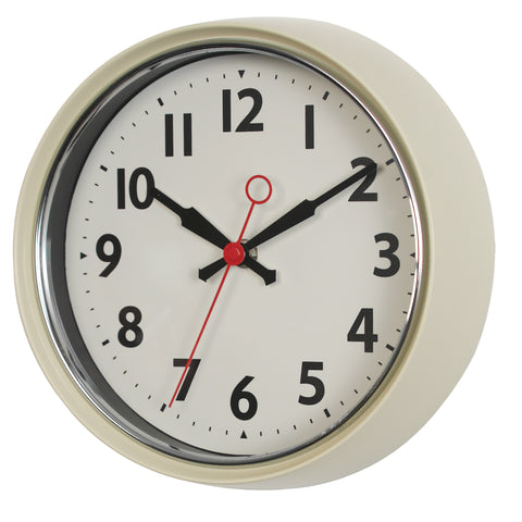 1950's Style Ivory Metal Wall Clock by A Fly Went By - A Fly Went By