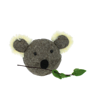 Mini Grey Felted Wool Koala Head