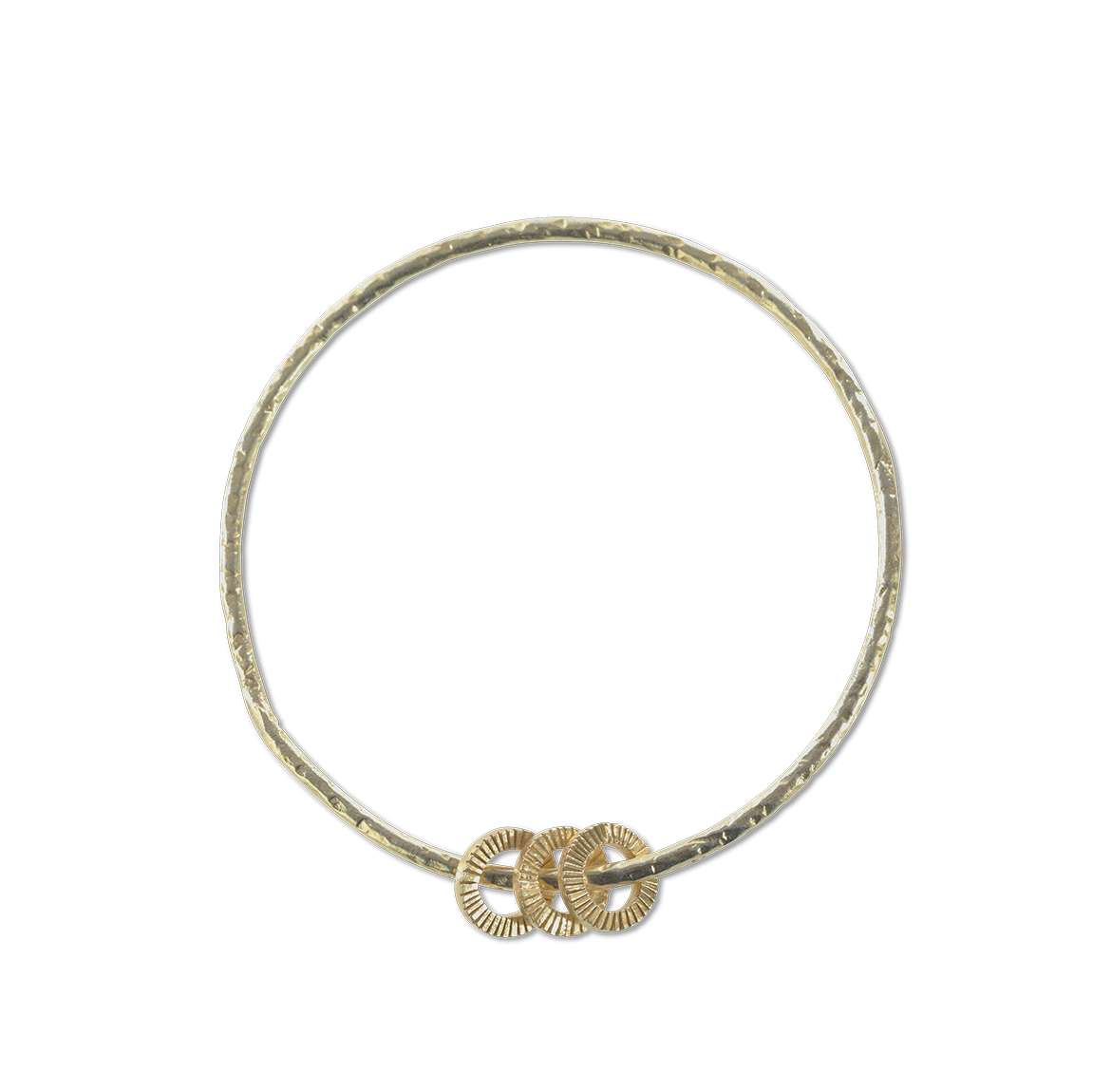 Gold Lalia Bangle With 3 Hoops by Nkuku - A Fly Went By
