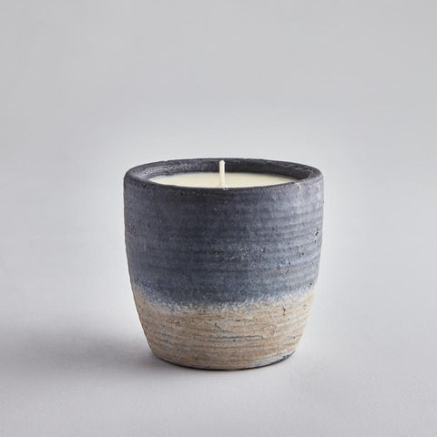 Large Sea Salt Candle in Blue Ombre Pot- a-fly-went-by.myshopify.com