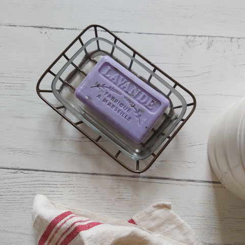 lavender French market soap bar in soap dish