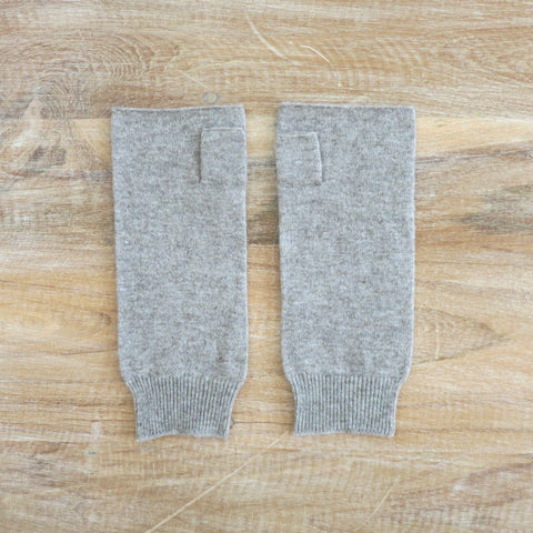 Merino Wool Pale Grey Wristwarmer Fingerless Gloves