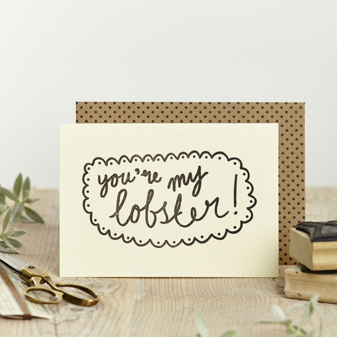 Katie Leamon 'You're my Lobster' Card Stationery- a-fly-went-by.myshopify.com