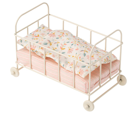 Maileg Off-White Metal Cot With Pretty Bedding Toy by Maileg - A Fly Went By