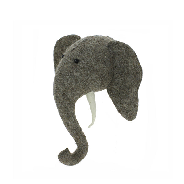 a fly went by fiona walker Mini Grey Felted Wool Wall Mounted Elephant Head