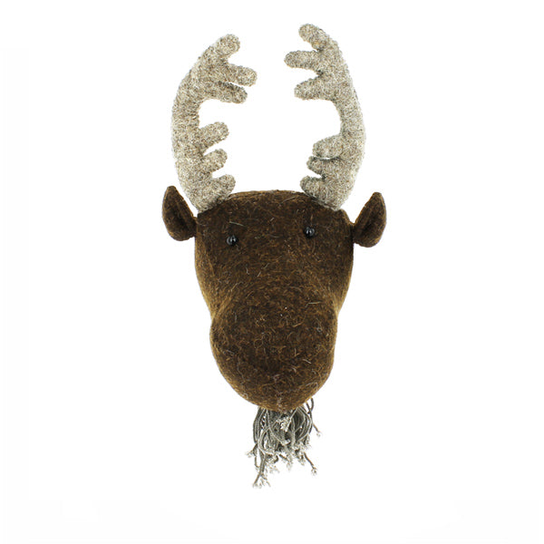 Mini Felted Wool Moose Head With Antlers