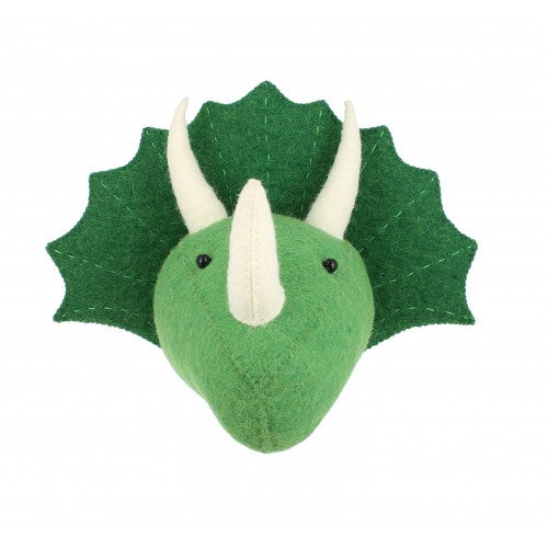 Mini Green Felted Wool Triceratops Dinosaur Head