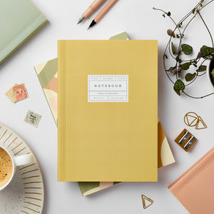 Katie Leamon Beautiful Mustard Notebook Stationery- a-fly-went-by.myshopify.com