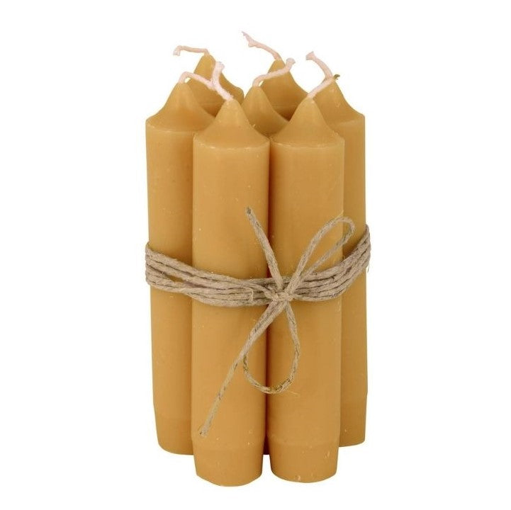 Bundle of 6 Mustard Short Dinner Candles by IB Laursen - A Fly Went By