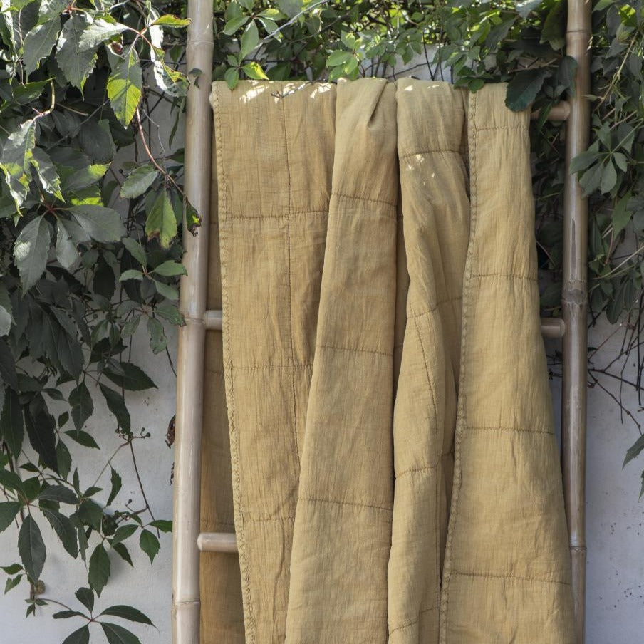 Large Mustard Yellow Cotton Quilt