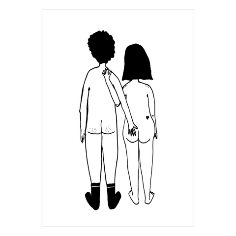 Rear Naked Couple A3 Print Poster by Helen B - A Fly Went By