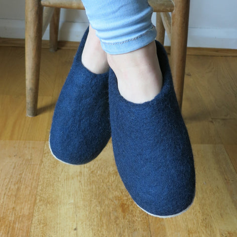 Aura Que Navy Felted Wool Slippers Accessories- a-fly-went-by.myshopify.com