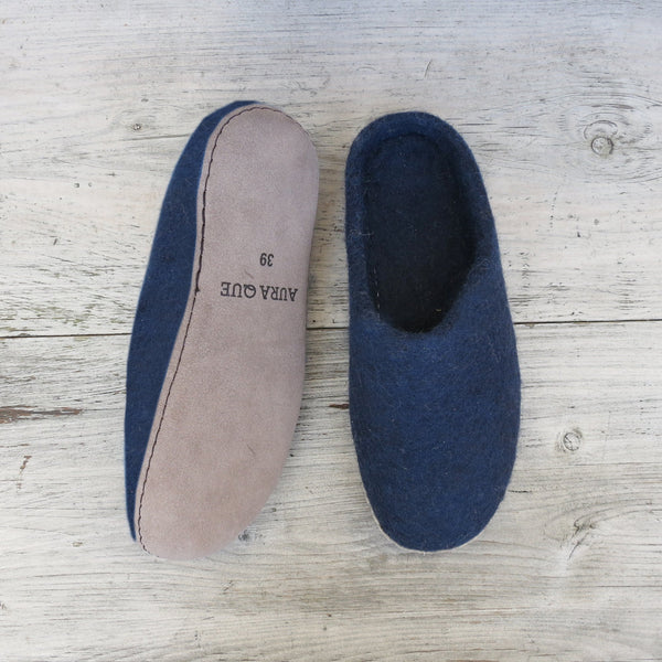 Navy Felted Wool Slippers by Aura Que - A Fly Went By