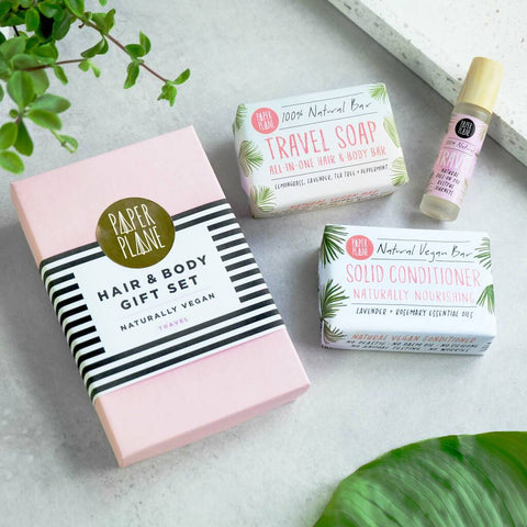 Vegan Hair And Body Travel Gift Set by Paper Plane - A Fly Went By