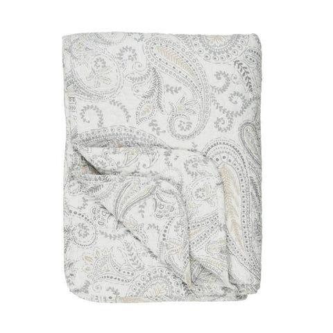 Large Off-White, Soft Grey and Beige Paisley Quilted Throw by IB Laursen - A Fly Went By