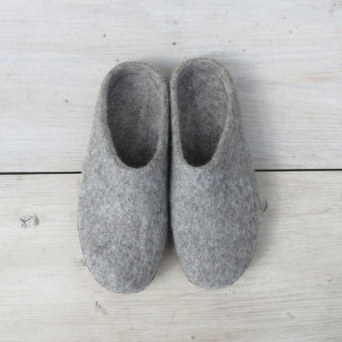 Pale Grey Felted Wool Slippers
