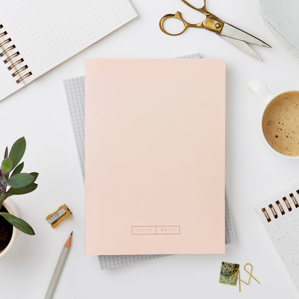 Wiro Pale Pink Grid Notebook by Katie Leamon - A Fly Went By