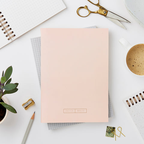 Katie Leamon Wiro Pale Pink Grid Notebook Stationery- a-fly-went-by.myshopify.com