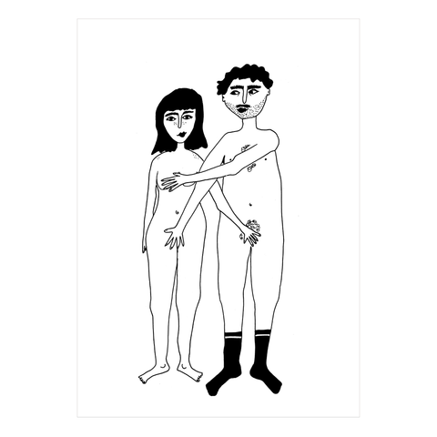 Naked Couple A4 Print Poster by Helen B - A Fly Went By