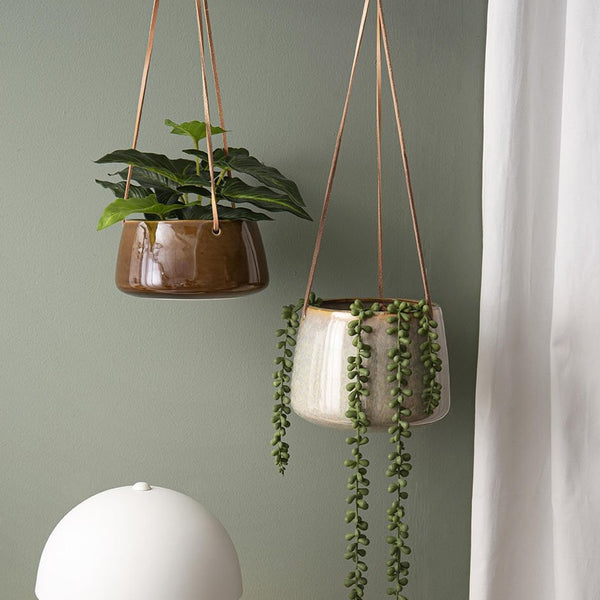 Large Unique Glazed Hanging Plant Pot