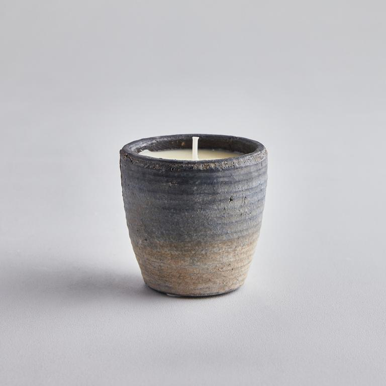 samphire and sage candle in blue ombre pot