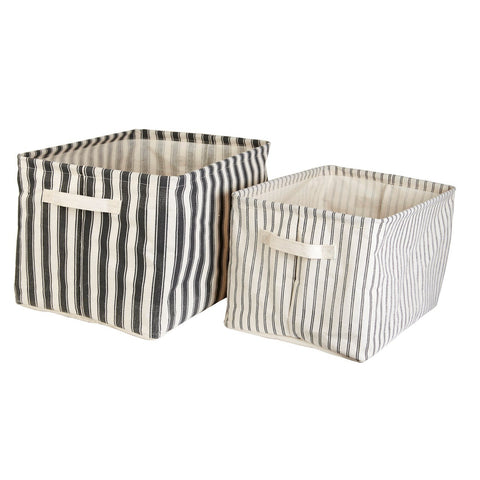 Set of 2 Ticking Stripe Storage Baskets by A Fly Went By - A Fly Went By