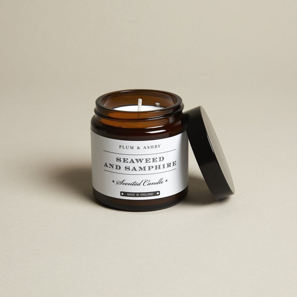 Plum and Ashby Seaweed & Samphire Recycled Jar Candle Homeware- a-fly-went-by.myshopify.com