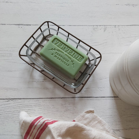 verveine French market soap bar in soap dish