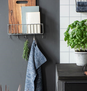 Wall Storage Basket with 5 Hooks