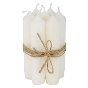 Bundle of 6 White Short Dinner Candles by IB Laursen - A Fly Went By