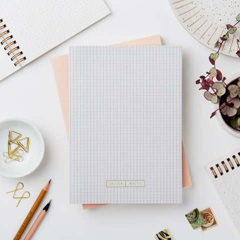 Katie Leamon Wiro Grey Grid Notebook Stationery- a-fly-went-by.myshopify.com