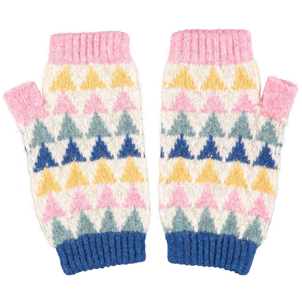 Women's Sage, Pink, Blue and Yellow Triangle Design Lambswool Wrist Warmers