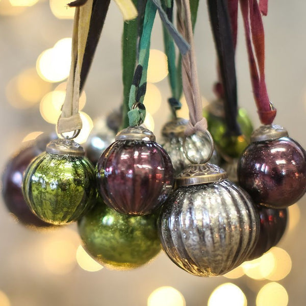 Set of 6 Zia Coloured Glass Christmas Baubles